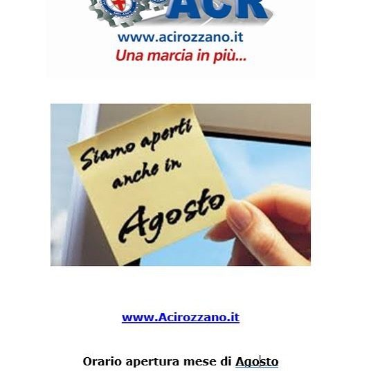 Aci Rozzano - Agosto Uffici aperti.