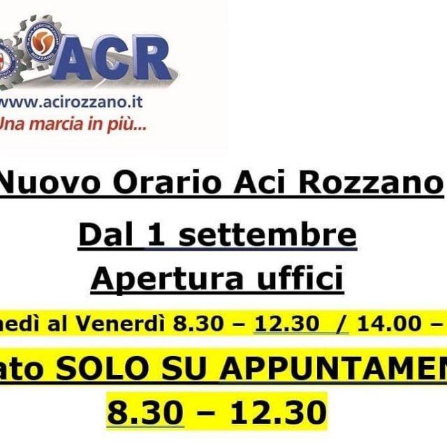 ACI Rozzano - Nuovo orario.